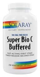 Solaray - Super Bio C Buffered Two-Stage Timed-Release - 250 Vegetarian Capsules