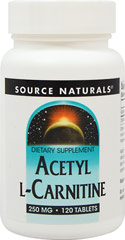 Source Naturals Acetyl L-Carnitine 250 mg   / 120 Tablets