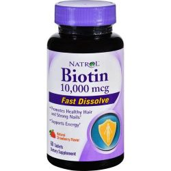 Natrol Biotin 10,000 mcg Fast Dissolve, 60 Tablets Strawberry