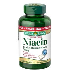 Flush Free Niacin Inositol Hexanicotinate for Nervous System & Energy Production 500 mg. - 120 Capsules