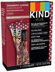 Kind Plus Bars Cranberry Almond + Antioxidants with Macadamia Nuts -- 4 Bars