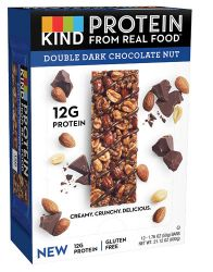 Kind 12G Protein Bar Gluten Free Double Dark Chocolate Nut -- 12 Bars
