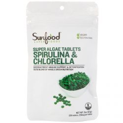 Sunfood Superfoods Super Algae Tablets Spirulina And Chlorella (450 Tablets)