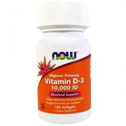Now Foods, Vitamin D-3 High Potency, 10,000 IU, 120 Softgels