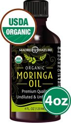 Organic Moringa Oil - Highest Quality, Cold-Pressed, Unrefined, non-GMO - 4 Ounce