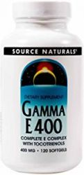 Gamma E 400 Complete Vitamin E Complex with Tocotrienols 120 Softgel Source Naturals