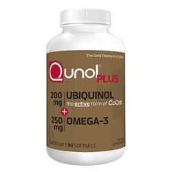 Qunol Plus Ubiquinol 200 mg. with Omega-3, 90 Softgels