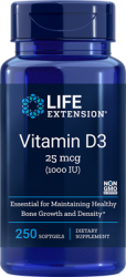 Vitamin D3      25 mcg (1000 IU), 250 softgels Life Extension