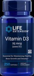Vitamin D3      25 mcg (1000 IU), 250 softgels Life Extension