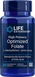 High Potency Optimized Folate L-Methylfolate 5000 mcg, 30 vegetarian tablets  Life Extension