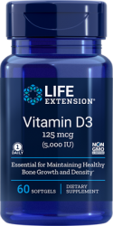 Vitamin D3  5,000 IU, 60 softgels Life Extension