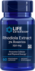Rhodiola Extract (3% Rosavins)  250 mg, 60 vegetarian capsules Life Extension