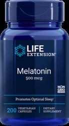 Melatonin  500 mcg, 200 vegetarian capsules Life Extension