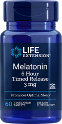 Melatonin 6 Hour Timed Release3 mg 60,  tablets Life Extension