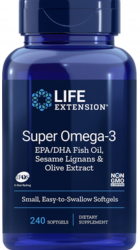 Super Omega-3 EPA/DHA 240 easy-to-swallow softgels with Sesame Lignans & Olive Fruit Extract