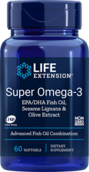Super Omega 3 EPA/DHA  60 softgels with Sesame Lignans & Olive Fruit Extract L.E.