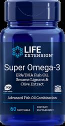 Super Omega 3 EPA/DHA  60 softgels with Sesame Lignans & Olive Fruit Extract L.E.