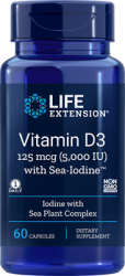 Vitamin D3 with Sea-Iodine™      125 mcg (5000 IU), 60 capsules Life Extension