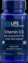 Vitamin D3 with Sea-Iodine™      125 mcg (5000 IU), 60 capsules Life Extension