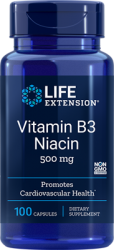 Vitamin B3 Niacin  500 mg, 100 capsules Life Extension