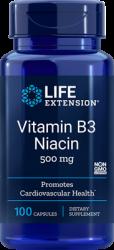 Vitamin B3 Niacin  500 mg, 100 capsules Life Extension