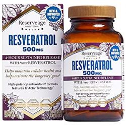 Reserveage, Resveratrol 500 mg, 60 capsules Antioxidant Supplement for Heart and Cellular Health, Supports Healthy Aging, Paleo, Keto,
