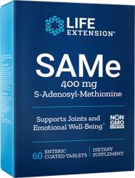 SAMe (S-Adenosyl-Methionine)  400 mg, 60 enteric coated tablets Life Extension