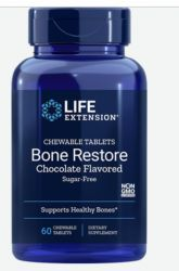 Bone Restore Chewable Tablets  (Sugar-Free Chocolate) 60 chewable tablets Life Extension