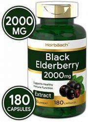 Horbaach Black Elderberry Capsules 2000 mg | 180 Pills | Non-GMO, Gluten Free | Sambucus Extract Supplement