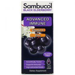 Sambucol, Black Elderberry Syrup, Advanced Immune, Vitamin C + Zinc, Natural Berry, 4 fl oz (120 ml)