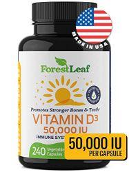 Vitamin D3 50,000 IU Weekly Supplement - 240 Vegetable Capsules