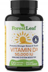 Vitamin D3 50,000 IU Weekly Supplement - 120 Vegetable Capsules