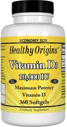 Healthy Origins Vitamin D3 10,000 IU (Non-GMO), 360 Softgels
