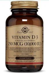 Solgar Vitamin D3 (Cholecalciferol) 250 MCG (10,000 IU), 120 Softgels -   Dairy Free - 120 Servings