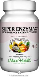 Maxi Health Super Enzymax - High Potency Enzyme Complex - Digestion Formula - 60 Tablets - Kosher