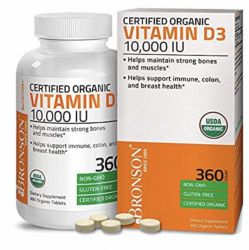 Bronson Vitamin D3 10,000 IU (1 Year Supply)   High Potency Organic Non-GMO Vitamin D Supplement, 360 Tablets