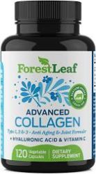 Advanced Collagen Supplement, Type 1, 2 and 3 with Hyaluronic Acid and Vitamin C - 120 Veggie Capsules - by ForestLeaf