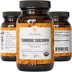 TRUVANI Organic Turmeric Curcumin | Turmeric Root Powder - with Black Pepper 30 Servings