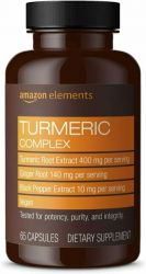 Amazon Elements Turmeric Complex, 400mg Curcumin, 140mg Ginger, 10mg Black Pepper  - 65 Capsules