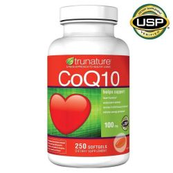Trunature CoQ10 100mg 250 Softgels Coenzyme Q-10 Heart Antioxidant